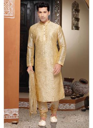 Gold Dhupion Kurta Pajama Collection For Wedding