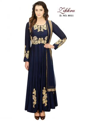 Party Wear Neavy Blue Silk Embroidered Work Gown