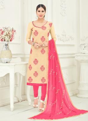 Office Wear Beige Chanderi Embroidery Churidar Suit