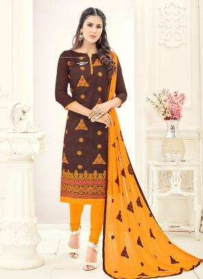 Office Wear Brown Chanderi Embroidery Churidar Suit
