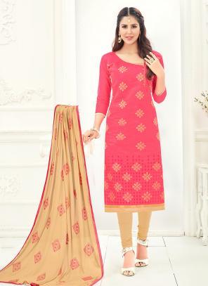 Office Wear Gajri Chanderi Embroidery Churidar Suit