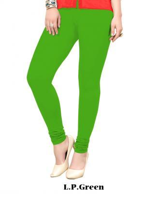 Office Wear L.p Green Cotton Plain Leggins
