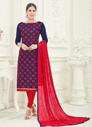 Office Wear Neavy Blue Chanderi Embroidery Churidar Suit