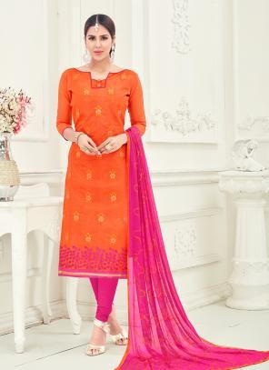 Office Wear Orange Chanderi Embroidery Churidar Suit