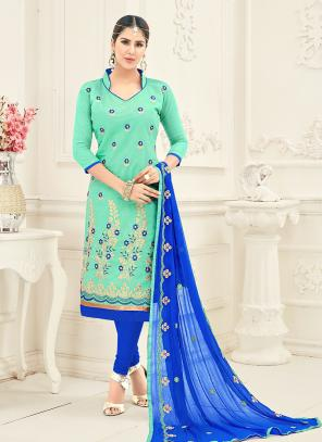 Office Wear Pista Green Chanderi Embroidery Churidar Suit