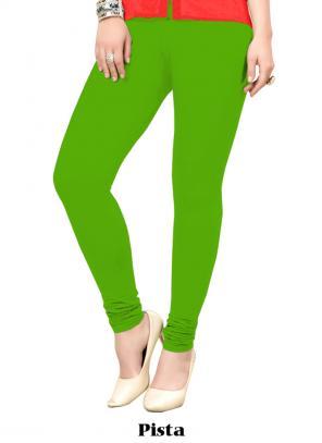Office Wear Pista Green Cotton Plain Leggins