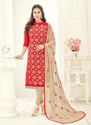 Office Wear Red Chanderi Embroidery Churidar Suit