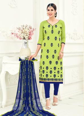 Office Wear Sea Green Chanderi Embroidery Churidar Suit