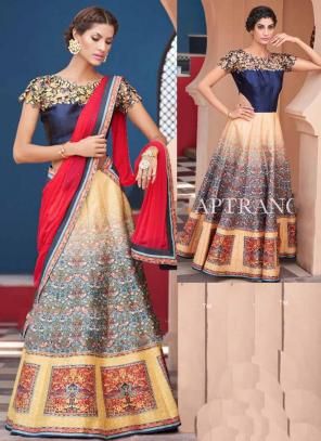 Party Wear Beige Silk Embroidered Work Lehenga Choli