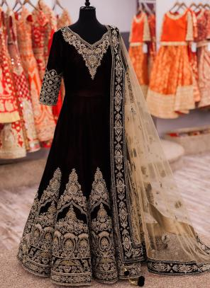 Party Wear Black Banglori Silk Heavy Embroidery Work Anarkali Suit