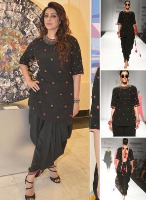 Party Wear Black Georgette Silk Embroidery Work Tabbu Designer Dhoti Salwar Suit