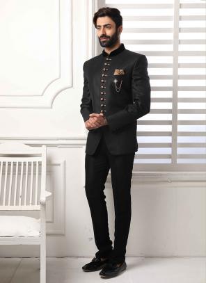 Party Wear Black Jodhpuri Fancy Work Jacket And Pant