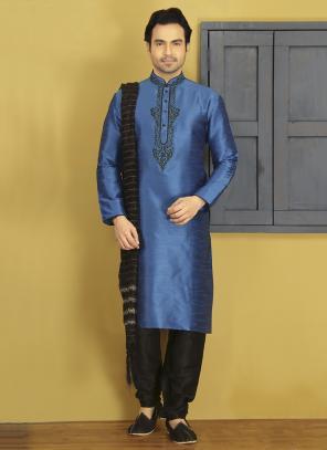 Party Wear Blue Art Silk Embroidery Work Sherwani Style