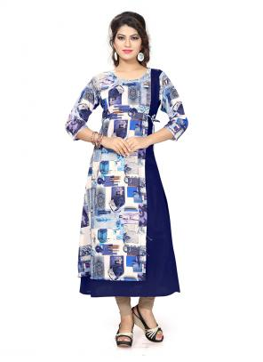 Party Wear Blue Crepe Printed Work Kurti