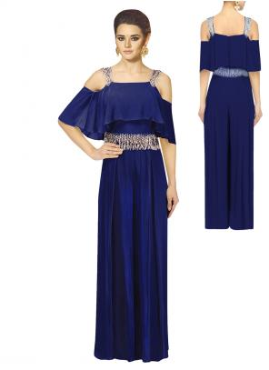 Party Wear Blue Georgette Pearls Work Jumpsuit