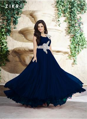 Party Wear Blue Net Patch Work Gown