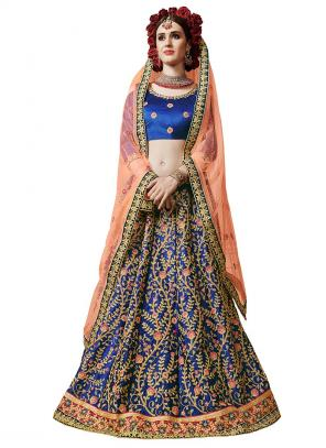 Party Wear Blue Satin Silk Embroidery Work Lehenga Suit