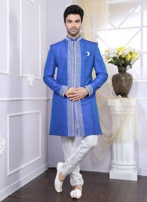 Party Wear Blue Silk Fancy Work Kurta Pajama