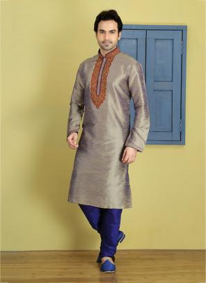 Party Wear Brown Art Silk Embroidery Work Sherwani Style