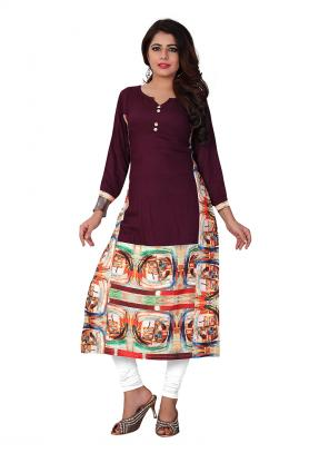 Party Wear Brown Crepe Printed Work Kurti