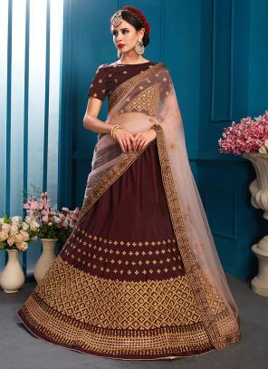 Party Wear Brown Satin Sequins Work Lehenga Choli
