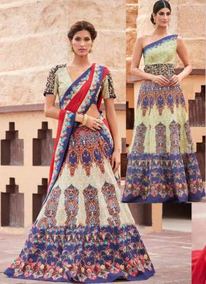 Party Wear Cream Silk Embroidered Work Lehenga Choli
