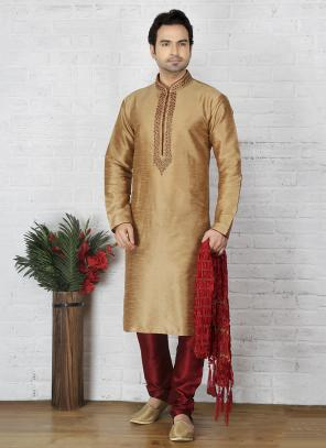 Party Wear Golden Art Silk Embroidery Work Sherwani Style