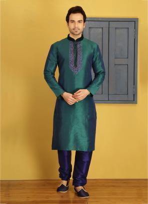 Party Wear Green Art Silk Embroidery Work Sherwani Style