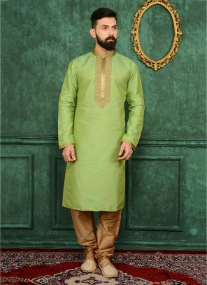 Party Wear Green Banarasi Silk Embroidery Work Kurta Pajama