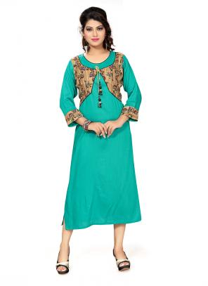 Party Wear Green Cotton Printed Work Kurti