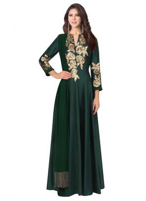 Party Wear Green Crepe Sequins Work Manish Malhotra Designer Anarkali Suit