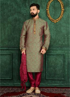 Party Wear Green Jacqaurd Silk Embroidery Work Kurta Pajama