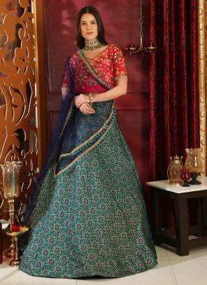 Party Wear Green Jacquard Silk Sequins Work Lehenga Choli