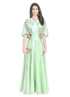 Party Wear Green Raw Silk Zardosi Work Amrit Kaur Open Cape Gown
