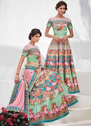 Party Wear Green Silk Embroidered Work Lehenga Choli