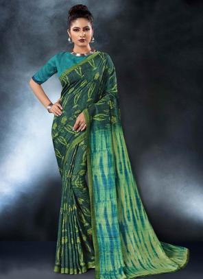 Party Wear Green Tussar Silk Digital Print Saree