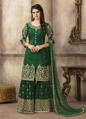 Party Wear Green Upada Silk Heavy Embroidery Work Sharar Suit