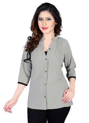 Party Wear Grey Georgette Plain Top