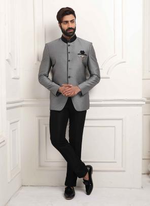 Party Wear Grey Jodhpuri Fancy Work Jacket And Pant