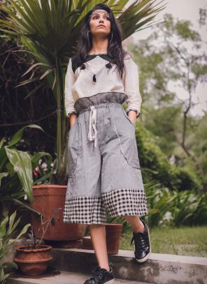Party Wear Grey Khadi Silk Printed Work Top
