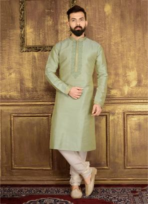 Party Wear Light Green Banarasi Silk Embroidery Work Kurta Pajama