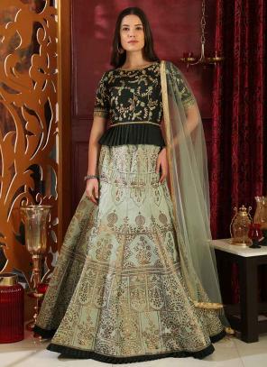 Party Wear Light Green Jacquard Silk Sequins Work Lehenga Choli