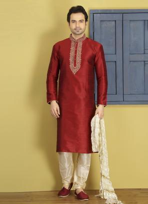 Party Wear Maroon Art Silk Embroidery Work Sherwani Style