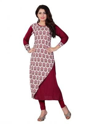 Party Wear Maroon Crepe Printed Work Kurti