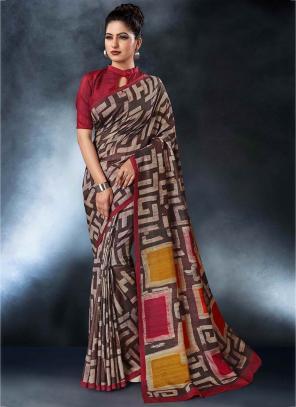 Party Wear Multi Color Tussar Silk Digital Print Saree