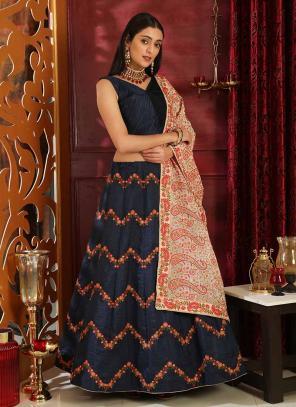 Party Wear Navy Blue Jacquard Silk Sequins Work Lehenga Choli