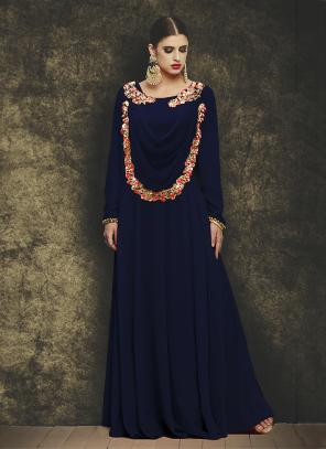 Party Wear Neavy Blue Georgette Embroidery Work Gown