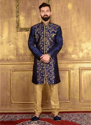 Party Wear Neavy Blue Jacqaurd Embroidery Work Kurta Pajama