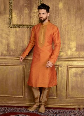 Party Wear Orange Banarasi Silk Embroidery Work Kurta Pajama