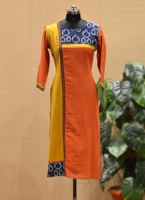 Party Wear Orange Cotton Printed Work Kurti